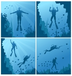 Scuba divers under water vector image