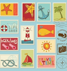 sea elements - stamp collection vector image vector image