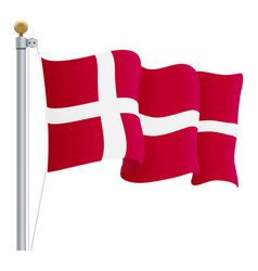 waving denmark flag isolated on a white background vector image