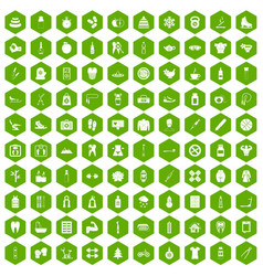 100 fit body icons hexagon green vector