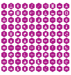100 water icons hexagon violet vector image