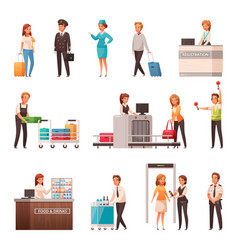 airport cartoon icons set vector image