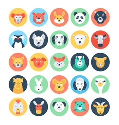 Animal Avatars Flat Icons 2 vector