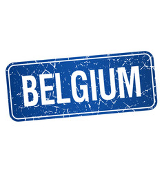Belgium blue stamp isolated on white background vector