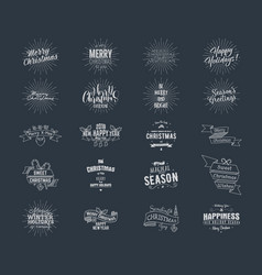 Big christmas typography quotes wishes bundle vector