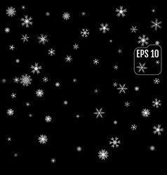 black background with white snowflakes vector image
