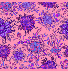 blooming colorful flowers seamless pattern purple vector image