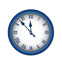 Blue realistic vintage clock isolated on white vector