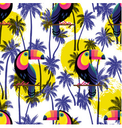 botanical seamless pattern with toucan vector image