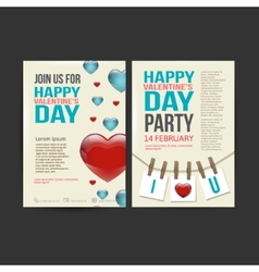 Brochure flyer happy valentines day design vector