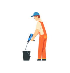 Builder mixing cement with construction mixer vector