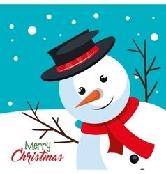 card snowman happy mery christmas vector image