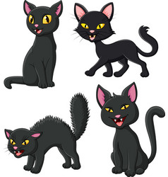 cartoon black cat collection set vector image
