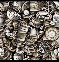 Cartoon cute doodles hand drawn tea house seamless vector