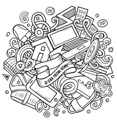 cartoon doodles work from home vector image