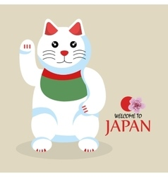 Cat cartoon icon traditional culture japan design vector