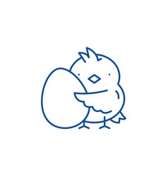chick with an egg line icon concept chick with an vector image