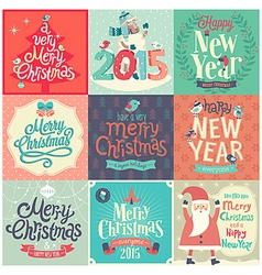 christmas funny emblems set vector image