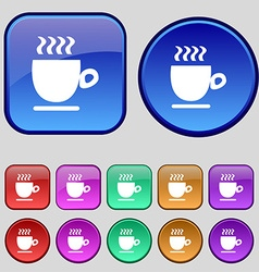 Coffee cup sign A set of twelve vintage buttons vector image