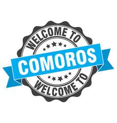 Comoros round ribbon seal vector