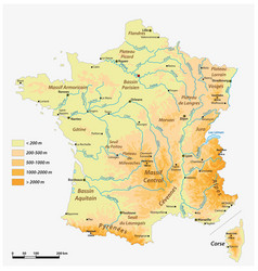 Detailed physical map french republic vector