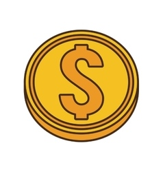 Drawing gold coin money dollar vector