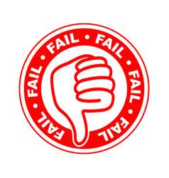 Fail thumbs down stamp vector