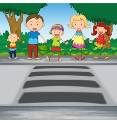 Family crossing road vector