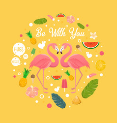 Flamingo couple in summer with many fruits vector