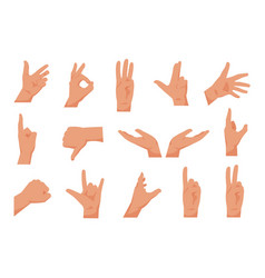 flat hands cartoon human hands showing thumbs up vector image
