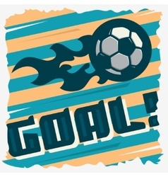 Football Goal The Ball On A Fire Soccer Print vector