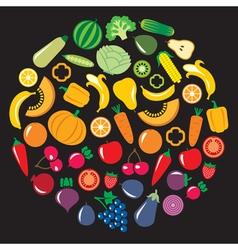 Fruits Vegetables circle vector image