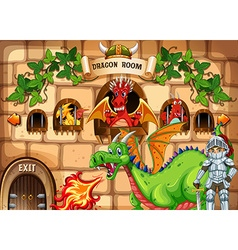 Game template with dragon and knight vector image