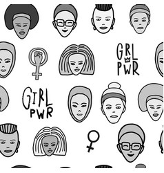 Girl power woman face feminist seamless pattern vector
