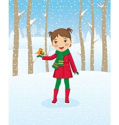 girl walking in winter forest vector image