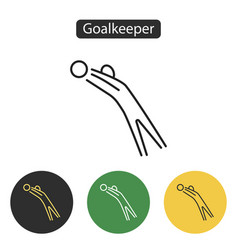 goalkeeper jumps to ball icon vector image