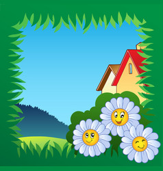 grass frame with flowers 1 vector image