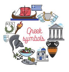Greece famous sightseeing symbols and culture vector