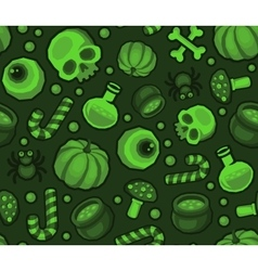 Green Halloween Seamless Pattern Background with vector image