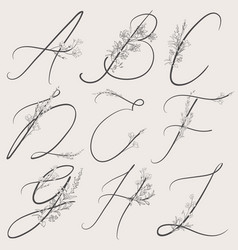 Hand drawn flowered alphabet monogram and vector