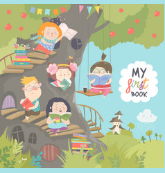 Happy children reading books in the treehouse vector
