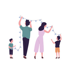 happy family hanging flags or bunting garland on vector image