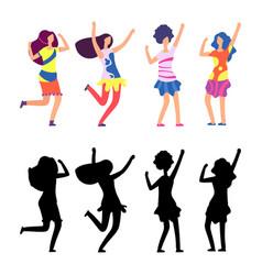 Happy women in bright clothes hippie female vector