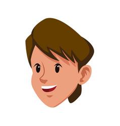 head brunette boy young avatar vector image