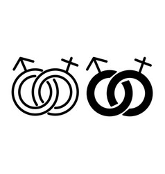Heterosexual symbol line and glyph icon gender vector