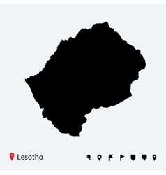 High detailed map of Lesotho with navigation pins vector image