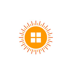 House sun logo icon design vector