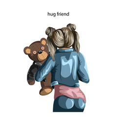 Image a soft toy bear held a young girl vector