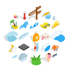 Improve your health icons set isometric style vector