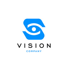 Initial letter s with eye vision logo design icon vector